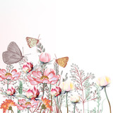 Flower vector illustration with cosmos and peony flowers - 185638396