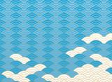 青海波文様と雲。 和風の背景素材。 - 185638941