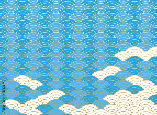 青海波文様と雲。 和風の背景素材。