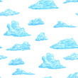 Cartoon seamless pattern with clouds different shape in hand drawn sketch style. Isolated on white background. Vector illustration. - 185642969