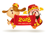 Chinese New Year. Chinese God of Wealth and Chinese Zodiac Dog with scroll. Traditional Chinese Costume. The year of the dog. - 185644983