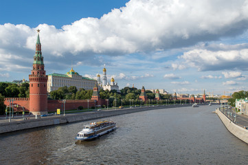 View of Moskva river and Moscow Kremlin, famous touristic place