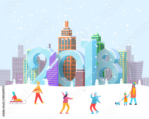 Fotobehang Lichtblauw New Year 2018 Coming to City Vector Illustration