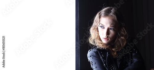 Beautiful Caucasian Female Model brunette hair Portrait with jacket