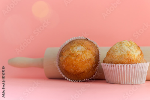 Muffins. Homemade pastries, sweet cupcakes for breakfast