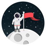 Astronaut auf Mond mit Fahne Flat Design Icon