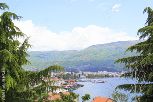 Fotobehang Amusementspark Beautiful view of the coast of Lake Ohrid in Macedonia