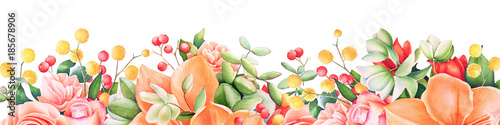 Background with watercolor summer flowers and berries. Useful for design of banners, cards, greetings and invitations. - 185678906