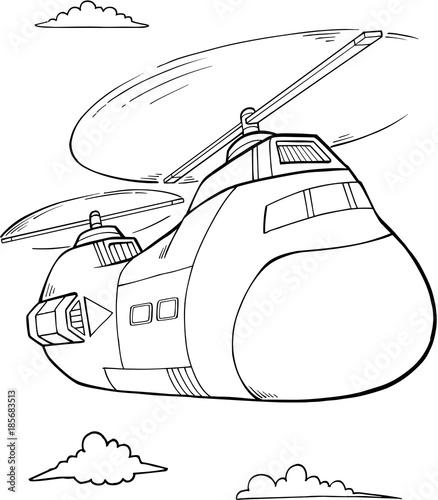 Papiers peints Cartoon draw Big Helicopter Vector Illustration Art