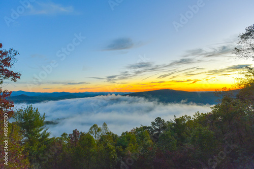 Foto op Canvas Grijze traf. Sunrise In The Mountains - 211