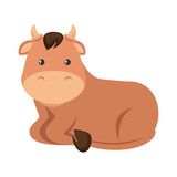 cute ox character icon vector illustration design