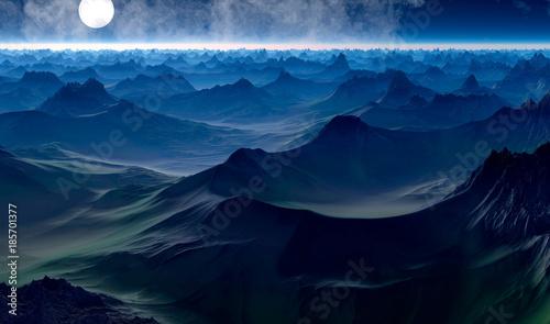 Foto op Canvas Nachtblauw mountain, landscape, sky,