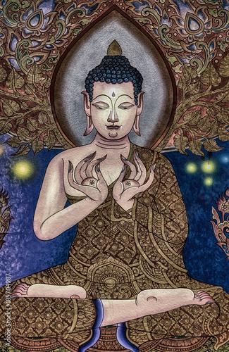 Papiers peints Buddha Painting of Buddha in a temple near Chiang Mai Thailand
