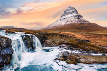 Kirkjufell mount and waterfall. Kirkjufell (Church mountain) is a 463m high mountain on the north coast of Saefellsnes peninsula and a famous icelandic landmark