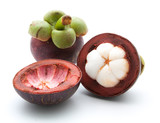 mangosteen queen of fruits on white - 185713569