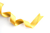 gold bow ribbon satin texture isolated on white - 185713932