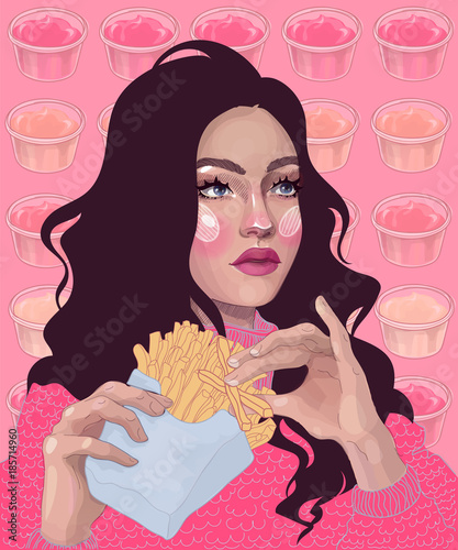 Vector Beautiful Brunette Girl Eating A French Fries And Can Not Choose A Sauce To It