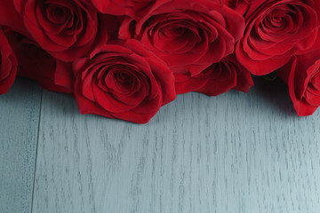 red roses on light blue wood background