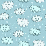 Blue seamless pattern with cute clouds. Childrens shiny background. Texture for wallpaper, fills, web page background.