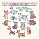 Cute Animals Doodle Set. Stock vector template, easy to use.