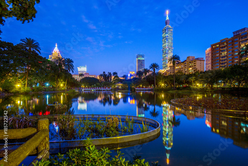 night scene of Taipei with Taipei 101 Poster