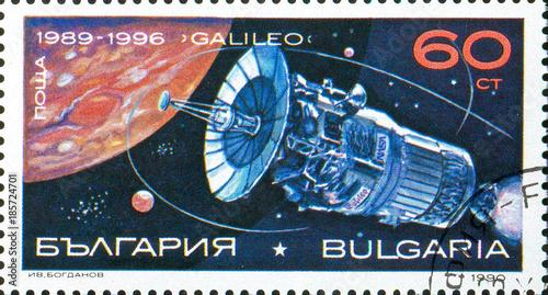 Foto op Aluminium Nasa Ukraine - circa 2017: A postage stamp printed in Bulgaria shows picture Space Probe Galileo. Series: Space Research, Exploration, circa 1990