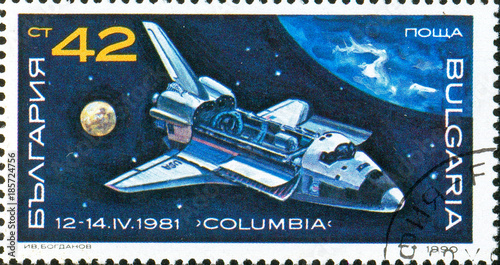 Foto op Aluminium Nasa Ukraine - circa 2017: A postage stamp printed in Bulgaria shows picture Space Shuttle Columbia, 1981. Series: Space Research, Exploration, circa 1990