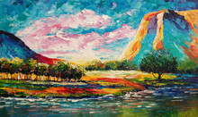 "Постер, картина, фотообои ""Original oil painting on canvas - Bright colorful landscape - Modern art"""