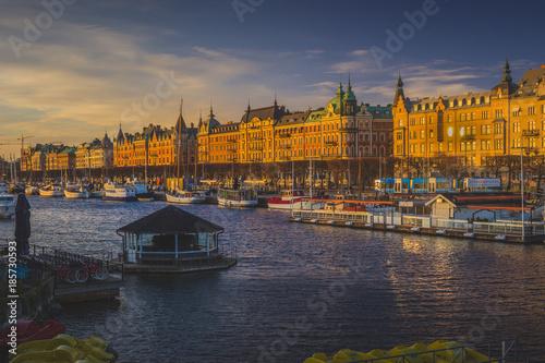 Foto op Canvas Stockholm Sunset on Strandvagen Street