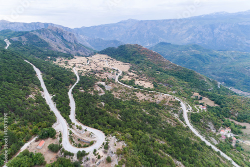 Fotobehang Khaki Road in the mountains of Bosnia and hercegovina, aerial view.