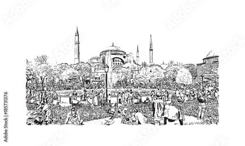 In de dag Art Studio Hand drawn sketch of Hagia Sophia Istanbul, Turkey in vector illustration.