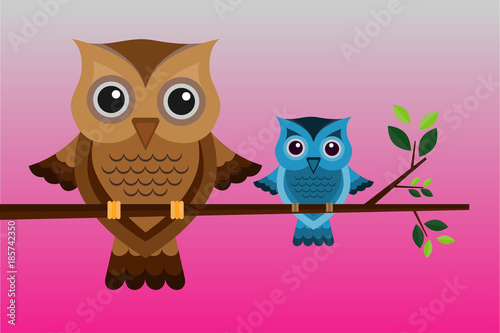 Fotobehang Uilen cartoon Two brown and blue owls on a branch