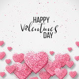 Saint valentine day background with colorful hearts with frame. Happy valentines day and weeding design elements. Vector illustration. Pink Background With hearts. Doodles and curls. Be my valentine. - 185744110