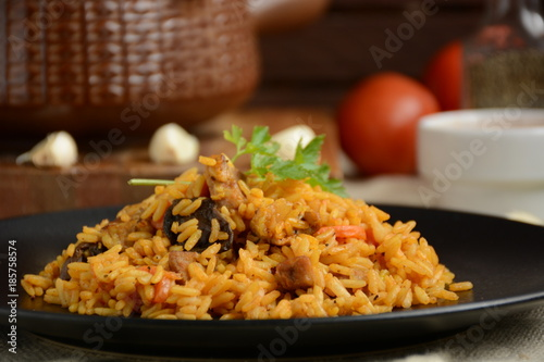 Rice with meat and mushrooms