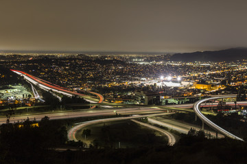 Night view of the Ventura and Glendale freeways in the Eagle Rock neighborhood of Los Angeles, California.