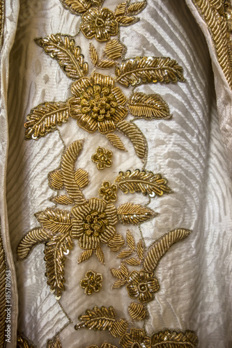 Fotobehang Stof Vintage antique gold embroidery floral pattern