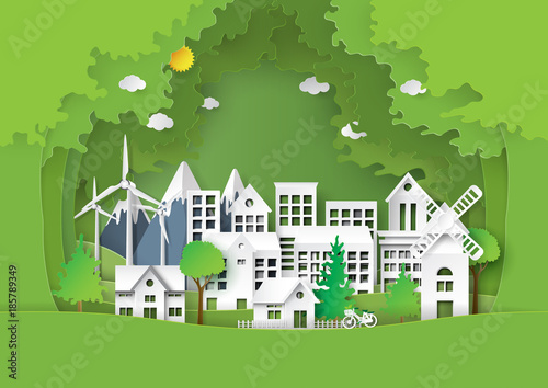 Nature landscape of forest and green eco friendly cityscape.For environment conservation creative idea concept design paper art style.Vector illustration. - 185789349