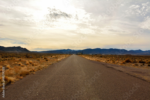 Foto op Canvas UFO Road leading to the back gate of top secret Area 51 military base