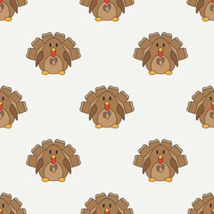 Flat line color vector seamless pattern cute animal for baby products - turkey. Cartoon style. Childrens doodle. Babyhood. Newborn. Vector illustration, element for your design, wallpaper. Kids. Farm.