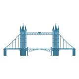 London Tower Bridge, England, United Kingdom symbol and tourist attraction, cartoon vector illustration isolated on white background. Flat style Tower Bridge, London, England symbol