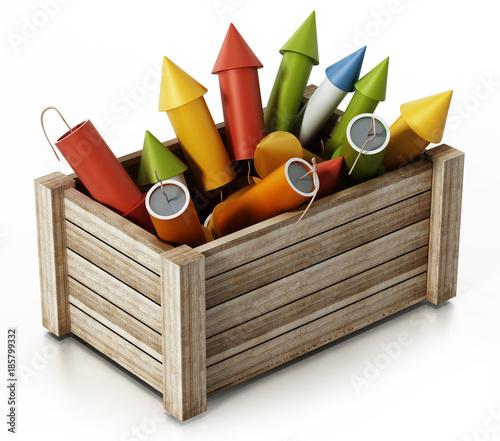Fototapeta Fireworks standing inside wooden crate. 3D illustration
