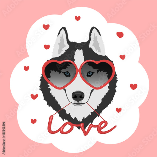 Dog With Heart Shaped Glasses And Red Word Love Black And White