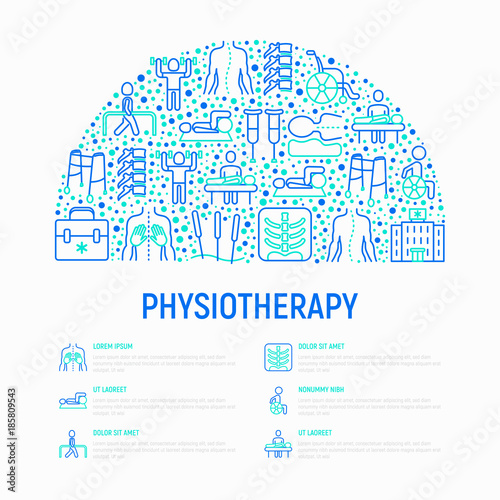 physiotherapy concept in half circle with thin line icons