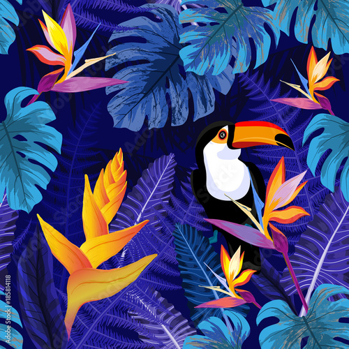 Seamless pattern with flowers and toucan bird - 185814118