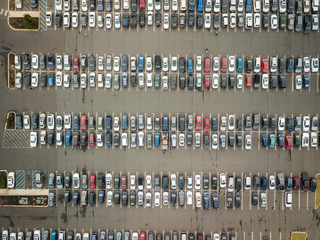 Aerial of Parked cars and Traffic