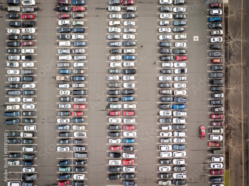 Aerial of Parked cars and Traffic - 185816148