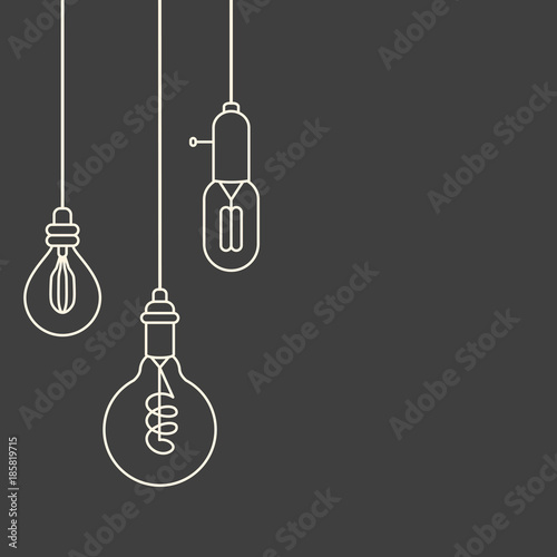 Fototapeta Card template with retro stylized linear electric bulbs