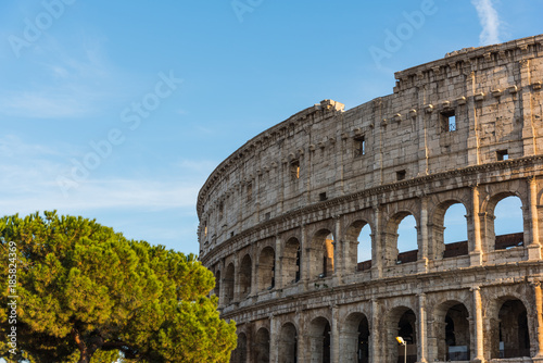 Fotobehang Rome Clear sky over world famous Coliseum