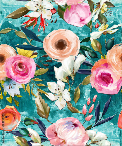 oil painted seamless floral pattern - 185828383