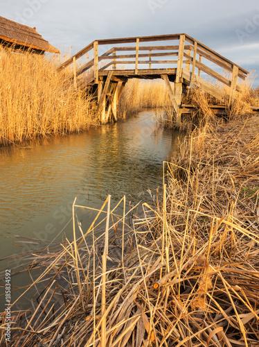 Brücke über Kanal im Schilf des Neusiedlersee